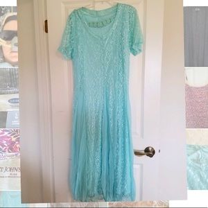Sheer lacy dress with under slip